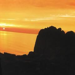 夕陽 水平線に沈む夕陽 🌅 オレンジ色に染まる…