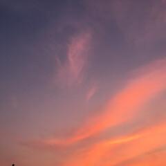 夕焼け 月と夕焼け