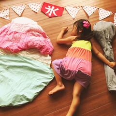 かき氷/お昼寝アート 夏休み中のお昼寝〰大好きなかき氷を食べる…