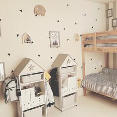二段ベッド/ランドセルラック/カラーボックスリメイク/セリア/100均/DIY/... 新しくなったキッズルーム。 作り方を紹介…