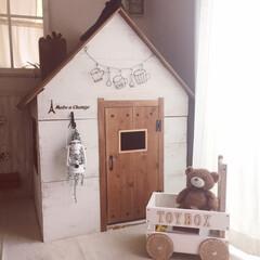 収納/おもちゃ箱/子ども用/小さなお家/キッズハウス/DIY/... キッズルームにある、子どものお家! 使わ…