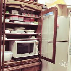 大掃除/キッチン/家具/収納/掃除 食器棚に電子レンジを収納してみました。