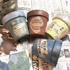ペインティング/デコパージュ/リメ鉢/ダイソー/セリア/100均/... リメ鉢作りました😊 好みの色に塗料を色々…