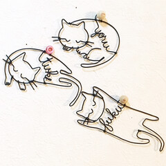 ネーム入り/猫/ウサギ/ワイヤークラフト/雑貨/ハンドメイド 動物シリーズ😸🐰 お名前入り😊💕💕