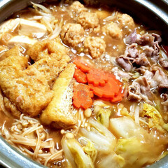 鍋料理  家族の好き嫌いにより 茶色い鍋🍲完成~…
