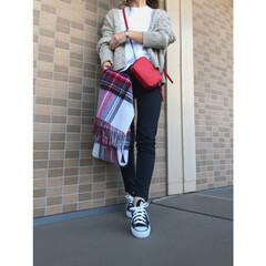 プチプラファッション/プチプラコーデ/コーディネート/ママコーデ/ママファッション/ローリーズファーム/... ベージュ×ブラックコーデに赤のバッグ♪ …