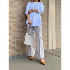 秋ファッション/UNIQLO/ジーユー/プチプラコーデ/ママファッション/ママコーデ/... UNIQLOのコットンロングシャツテール…