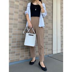 ジーユー/コーディネート/プチプラコーデ/プチプラファッション/秋ファッション/ママファッション/... GUのマットサテンダブルポケットシャツの…