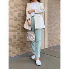 コーディネート/H&M/エイチアンドエム/ママファッション/UNIQLO/ユニクロ/... ホワイト×グリーンコーデ♪ H&Mのジャ…