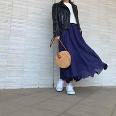 コンバース/ザラ/ZARA/プチプラコーデ/プチプラファッション/ママコーデ/... ライダース×スカートコーデ♪ コンバース…