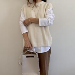 UNIQLO/秋ファッション/プチプラファッション/プチプラコーデ/ママファッション/ママコーデ/... UNIQLOのコットンロングシャツテール…(1枚目)