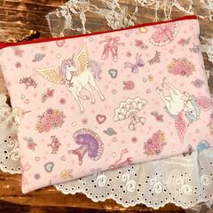 ユニコーン/ペガサス/ピンク/かわいい/ポーチ/裁縫/... 可愛い❤️ポーチ 藤久という会社が出した…