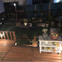 花のある暮らし/ストリングライト/人工芝/ウッドデッキ/ウッドデッキDIY/ガーデニング/... 夜のお庭です。 今日小学校のバザーでした…