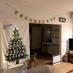 セルフリノベーション/和室から洋室/クッションフロア/リビング/ガーランド/ライトアップ/... もうすぐワクワクなクリスマスですね♡ 大…
