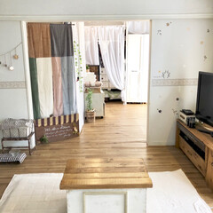 ラグ/センターテーブル/カラボリメイク/カラボ/クッションフロア/洋室から和室/... 元和室のドアを撤去して3COINSで購入…