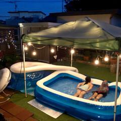 夏の思い出/ストリングライト/タープテント/人工芝/ガーデニング/お庭/... ナイトプールしました♡  夏休み最後楽し…