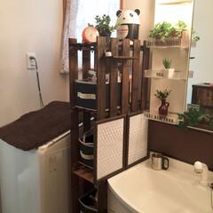 洗面所/隙間収納/すのこ/収納 洗面所の隙間にすのこを縦に組み合わせた隙…