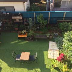 雑草対策/ベット再利用/ガーデニング/人工芝/庭造り 荒地だったお庭も人工芝を敷き、娘のベット…