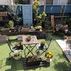 お花のある暮らし/ガーデニング雑貨/ガーデニング/人工芝/手作りのお庭/お庭づくり/... おはようございます。  昨日久々にお庭に…