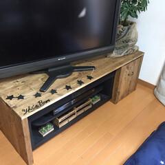 DIY/テレビ台リメイク/テレビ台/インテリア/収納 既存のテレビ台を囲うようにテレビ台を作り…