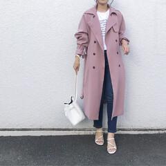 韓国通販/韓国ファッション/ママファッション/ママコーデ/シンプルコーデ/ピンクトレンチ/... 私のお気に入り春コート✨  韓国ファッシ…
