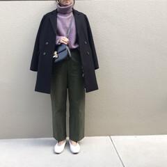 韓国ファッション/韓国通販/ファッション/プチプラコーデ/ママコーデ/ママファッション/... パープル×カーキ の きれいめカジュアル…
