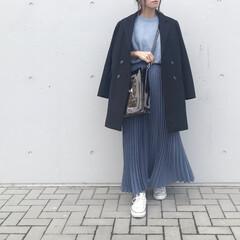 韓国通販/韓国ファッション/スカートスタイル/ロングスカート/プリーツスカート/ブルーコーデ/... 冬コーデ×クリアバッグ  購入したばかり…