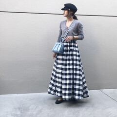 ファッション/ママコーデ/スカートコーデ/フレアスカート/チェックスカート/チェック柄/... コーデ   カーディガンをトップス風に……