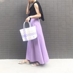 プラかごバッグ/かごバッグ/スカートコーデ/ロングスカート/ママコーデ/ママファッション/... コーデ   夏の定番プラかごバッグを追加…