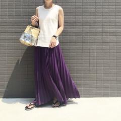ファッション/ママコーデ/ママファッション/GU/ジユジョ/ワッフルタンクトップ/... コーデ   今日は暑い〜〜🥵 なんだかベ…