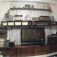 原状回復OK/原状回復可能/壁面DIY/壁面収納棚/TV台/TVボード/... TVボードと壁面棚のDIY  賃貸なので…