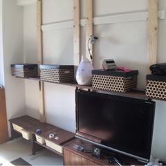 原状回復OK/原状回復可能/壁面DIY/壁面収納棚/TV台/TVボード/... TVボードと壁面棚のDIY  賃貸なので…(2枚目)
