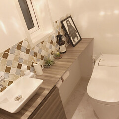 コラベル/名古屋モザイク/インテリア/トイレ/住まい 家造りで1番悩んだ場所です。名古屋モザイ…