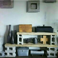 足場板古材/古材/足場板/棚/飾り棚/ディスプレイ棚/... 半ブロックと足場板古材で棚を作ってます☆…