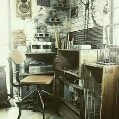 古道具/ジャンク/男前/インダストリアル/作業机/作業部屋/... 和室を改造して作った作業部屋の一角です☆…