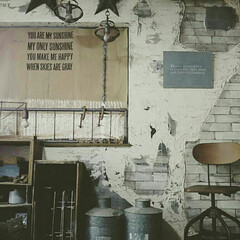 インダストリアルインテリア/アトリエ/作業部屋/和室リメイク/和室改造/インダストリアル/... お気に入りのインダストリアルチェアー☆和…