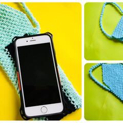 携帯ケース/phone case/ミサンガ/DIY/雑貨/100均/... ミサンガ編みで携帯ケースを作りました。