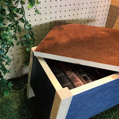 スツール/DIY/DIY女子/木製/壁紙シート/物入れ 木製スツールに貼ってはがせる壁紙シートを…