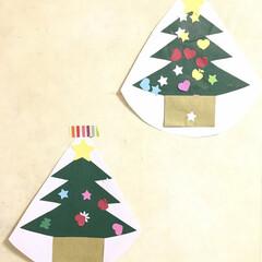 子どもの作品/クリスマス/クリスマスツリー 2歳の娘と甥っ子の作品 クリスマスツリー…