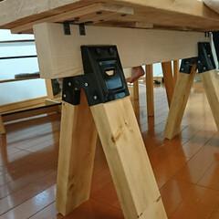ベンチ/ソーホースブラケット/DIY/インテリア 初のソーホースブラケットでベンチ作りに挑…