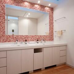 洗面所/ミサワホームイング/ダブルシンク/ツインボール/モザイクタイル/インテリアコーディネート/... パウダールームにはオーダーメイドした洗面…