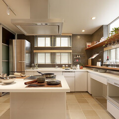 クッキングスタジオ/ハウスクエア横浜/システムキッチン/キッチンリフォーム/ミサワホームイング/アイランドキッチン/... 憧れのアイランドキッチン。吊り戸棚は取り…