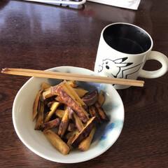 おやつ 今日のスイーツ 珈琲ブラック と 安納芋…(1枚目)
