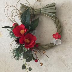 お正月飾り/ハンドメイド/100均 お正月の玄関飾りやっと… 作りました。 …