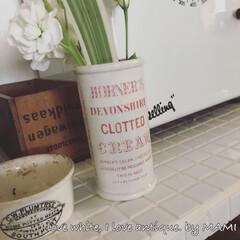 お花のある暮らし/お花のある生活/花のある生活/花のある暮らし/フラワーアレンジメント/いいね♡ありがとうございます/... このClotted Cream瓶は、 …