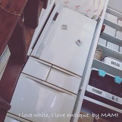 アンティークのある暮らし/ホワイトインテリア/ホワイト家具/カントリーインテリア/フレンチカントリー/DIY収納棚/... 冷蔵庫、そろそろ8年くらいでしょうか💦…