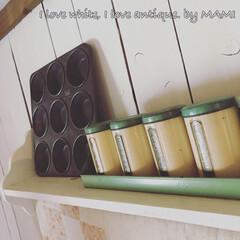 マフィン型/Tin缶/スパイス缶/DIY/手作りシェルフ/壁掛けシェルフ/... アンティークキルトを 掛けるために作っ…