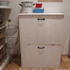 ホワイト/手作り/ごみ箱/ゴミ箱/ダストボックス/DIY/... キッチンにワンアクションで ゴミが捨てら…