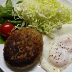 ハンバーグメニュー/目玉焼き/晩御飯 今日の晩御飯🌃🍴 チーズinハンバーグ …