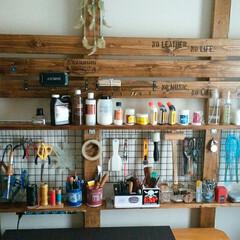 DIY/ディアウォール/ハンドメイド/レザークラフト/ワイヤーネット/ステンシル/... ディアウォールを使って、作業部屋をリメイ…